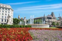 Plaza Catalunya Βαρκελώνη, Ισπανία, Ευρώπη Στοκ Εικόνες