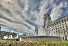 Plaza Catalunya σε HDR στη Βαρκελώνη, Ισπανία. Στοκ Εικόνα