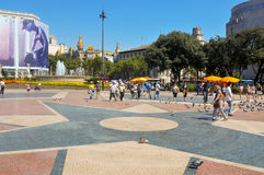 Plaza Catalunya στη Βαρκελώνη, Ισπανία Στοκ Φωτογραφίες