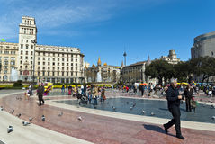 Plaza Catalunya Photographie stock libre de droits