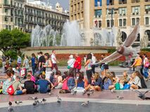 Plaza Catalunya - Barcelona. Plaza Catalunya is a lovely square and a popular meeting point in the heart of the city - Barcelona, Catalonia, Spain, 10 October stock photography