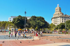 Plaza Catalunya in Barcelona, Spain Royalty Free Stock Photos