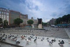 Plaza Catalunya in Barcelona, Spain. BARCELONA, SPAIN - Plaza Catalunya in Barcelona, Spain. Some of the city's most important streets meet at Plaza Catalunya Stock Images