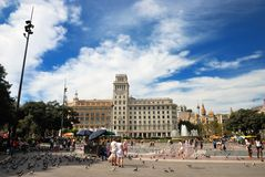 Plaza Catalunya in Barcelona, Spain. Royalty Free Stock Images