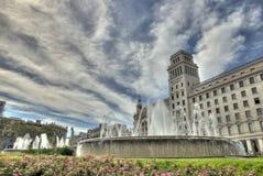 Plaza Catalunya in HDR in Barcelona, Spain. Stock Image