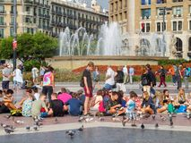 Plaza Catalunya - Barcelona. Plaza Catalunya is a lovely square and a popular meeting point in the heart of the city - Barcelona, Catalonia, Spain, 10 October stock photo