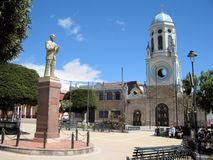 Plaza and Cathedral in city El Tambo - Ecuador Royalty Free Stock Image