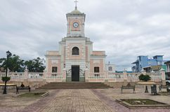 Plaza and Cathedral in Fajardo stock photos