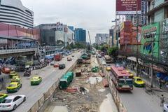 Plaza centrale avant Ladprao de Ligne Verte du nord de station de train de ciel de chantier de construction image libre de droits