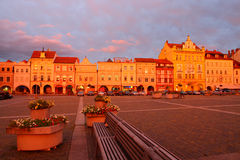 Plaza in the Ceske Budejovice sunset Stock Images