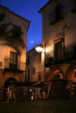 Plaza Chica con la luna, Zafra Fotografie Stock