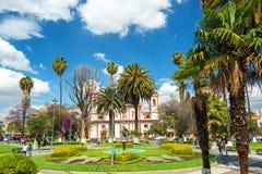 Plaza in Cochabamba, Bolivia stock image