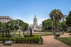 Plaza Congreso y congreso nacional - Buenos Aires, la Argentina Imagen de archivo libre de regalías