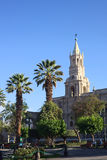 Plaza da Armas and the Basilica Cathedral in Arequipa, Peru Royalty Free Stock Photography