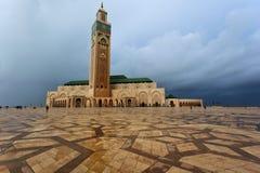 Plaza da mesquita de Hassan II em Casablanca, Marrocos Fotografia de Stock Royalty Free