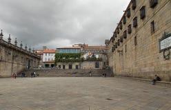Plaza de孔波斯特拉Church加利西亚 西班牙 免版税库存图片