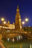 Plaza de西班牙在塞维利亚在晚上,西班牙 图库摄影