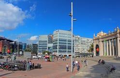 Plaza de西班牙在巴塞罗那,西班牙。 库存图片