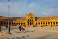 Plaza de西班牙复合体,塞维利亚,西班牙看法  免版税库存照片