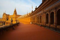 Plaza de西班牙复合体,塞维利亚,西班牙看法  库存照片
