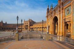 Plaza de西班牙复合体,塞维利亚,西班牙看法  免版税图库摄影