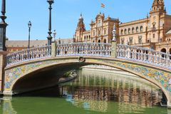Plaza de西班牙美丽的景色在塞维利亚,西班牙 免版税库存照片