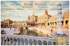 Plaza de西班牙西班牙广场在塞维利亚安大路西亚,在葡萄酒明信片背景的拼贴画 图库摄影