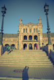 Plaza de西班牙,香港大会堂在塞维利亚,西班牙,欧洲 免版税图库摄影