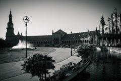 Plaza de西班牙,香港大会堂在塞维利亚,西班牙,欧洲 库存照片