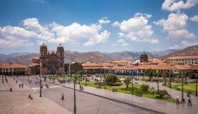 Plaza de阿玛斯在库斯科,秘鲁的历史的中心 库存图片