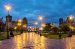 Plaza de阿玛斯在库斯科,秘鲁 免版税库存图片