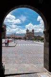 Plaza de阿玛斯在库斯科,秘鲁 库存图片