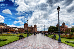 Plaza de阿玛斯在库斯科,秘鲁 库存照片