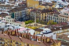 Plaza de默塞德默塞德广场在马拉加,安达卢西亚,西班牙 竞争 图库摄影