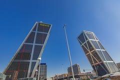 Plaza de Καστίλλη με τους πύργους Puerta de Ευρώπη στη Μαδρίτη, Ισπανία Στοκ Εικόνες