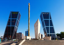 Plaza de Καστίλλη στην ηλιόλουστη ημέρα. Μαδρίτη, Ισπανία Στοκ Φωτογραφία
