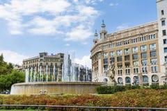 Plaza de καταλωνία στη Βαρκελώνη, Ισπανία Στοκ Εικόνα