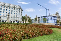 Plaza de καταλωνία στη Βαρκελώνη, Ισπανία Στοκ εικόνα με δικαίωμα ελεύθερης χρήσης