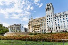 Plaza de καταλωνία στη Βαρκελώνη, Ισπανία Στοκ Εικόνες