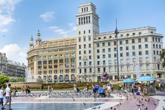 Plaza de καταλωνία στη Βαρκελώνη, Ισπανία Στοκ Φωτογραφία