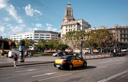 Plaza de καταλωνία στη Βαρκελώνη Στοκ Φωτογραφία