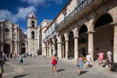 Plaza de Λα Catedral στην παλαιά Αβάνα, Κούβα Στοκ φωτογραφία με δικαίωμα ελεύθερης χρήσης
