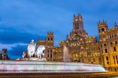 Plaza de Λα Cibeles Μαδρίτη, Ισπανία Στοκ εικόνα με δικαίωμα ελεύθερης χρήσης
