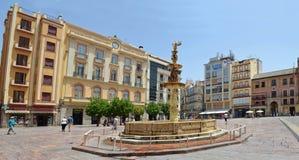 Plaza de Λα Constitucion πηγή και καταστήματα Μάλαγα Ισπανία Στοκ εικόνες με δικαίωμα ελεύθερης χρήσης