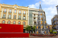 Plaza de Λα Constitucion στη Μάλαγα στα Χριστούγεννα Στοκ Φωτογραφίες