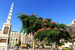 Plaza de Λα Mercaded, κτήριο Histiric, Μάλαγα, Ισπανία Στοκ εικόνα με δικαίωμα ελεύθερης χρήσης