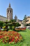 Plaza de Λα Reina και πύργος Micalet και καθεδρικός ναός στη Βαλένθια, Ισπανία Στοκ Φωτογραφία
