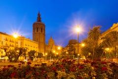 Plaza de Λα Reina το βράδυ. Βαλένθια, Ισπανία Στοκ φωτογραφία με δικαίωμα ελεύθερης χρήσης