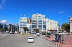 Plaza de西班牙在巴塞罗那,西班牙 库存照片