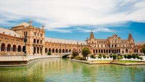 著名地标- Plaza de西班牙在塞维利亚,安大路西亚,西班牙 库存图片